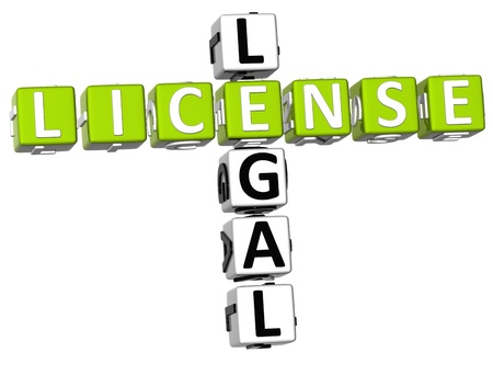 3D Legal License Crossword on white background photo