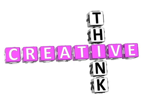 3D Think Creative Crossword on white background photo
