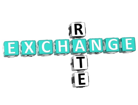 exchange rate: 3D Exchange Rate Crossword  on white background