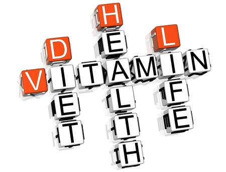 3D Vitamin Health Life Diet Crossword on white background Stock Photo - 8973378