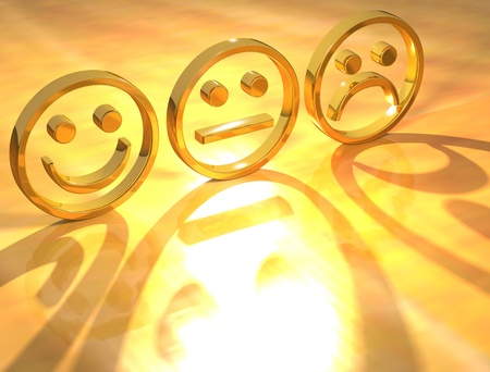 3D Smile Gold on yellow background photo