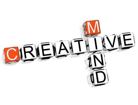 3D Creative Mind Crossword  on white background photo