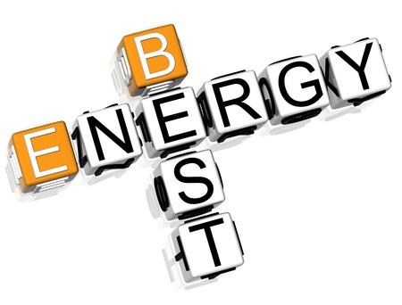3D Green Energy Crossword  on white background Zdjęcie Seryjne