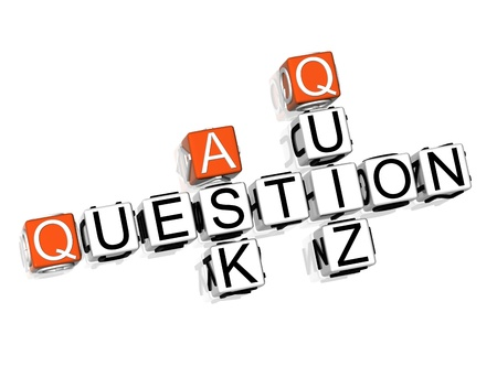 3D Question Crossword on white background photo