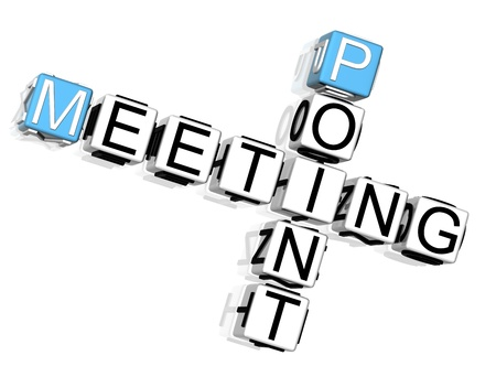 3D Meeting Point Crossword on white background photo