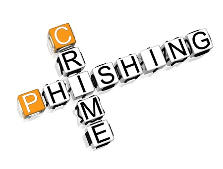 3D Crime Phishing Crossword on white background Stock Photo - 8973323