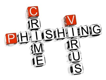 3D Crime Phishing Crossword on white background Stock Photo - 8973351