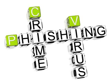 3D Crime Phishing Crossword on white background Stock Photo - 8973353