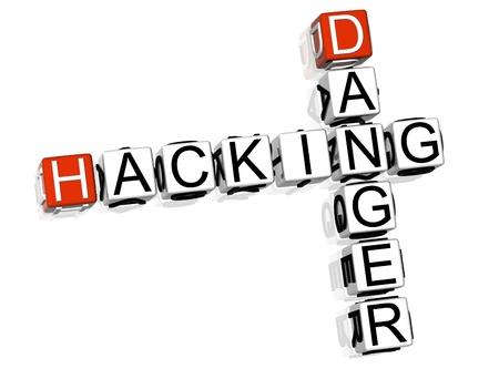 3D Hacking Danger Crossword on white background Stock Photo - 8973304