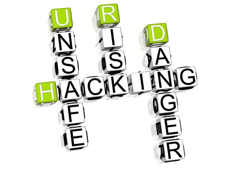 3D Hacking Danger Crossword on white background Stock Photo - 8973374