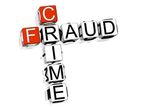3D Crime Fraud Crossword on white background Stock Photo - 8973296