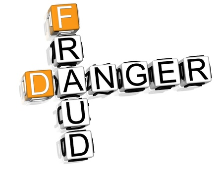 3D Fraud Danger Crossword on white background Stock Photo - 8973315