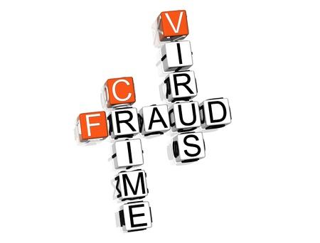 3D Fraud Danger Crossword on white background photo