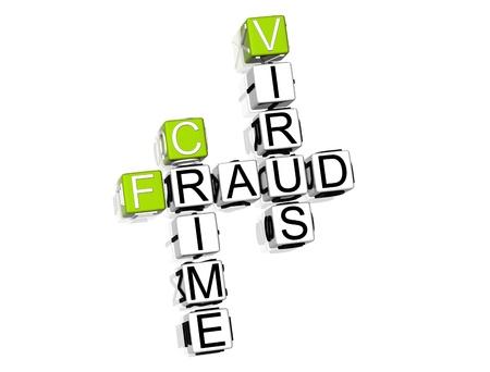 3D Fraud Danger Crossword on white background Stock Photo - 8973289