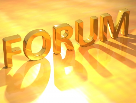 3D Forum Gold Text  on yellow text