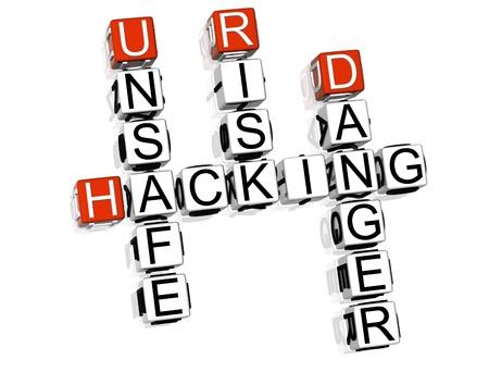 3D Hacking Danger Crossword on white background Stock Photo - 8973375