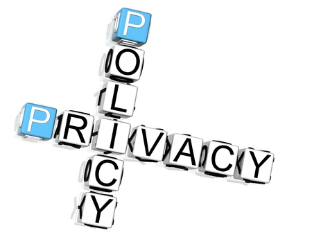 3D Policy Privacy Crossword on white background Stock Photo