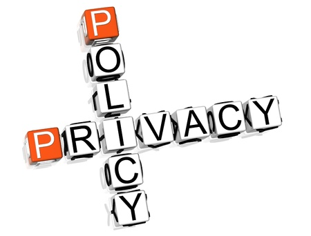 3D Policy Privacy Crossword on white background photo