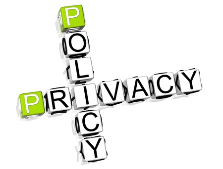 3D Policy Privacy Crossword on white background Stock Photo - 8973299