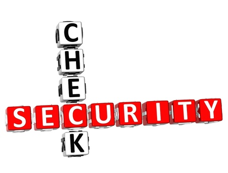 3D Security Check Crossword on white background photo