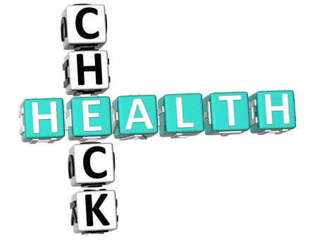 health check: 3D Check Health Crossword on white background Stock Photo
