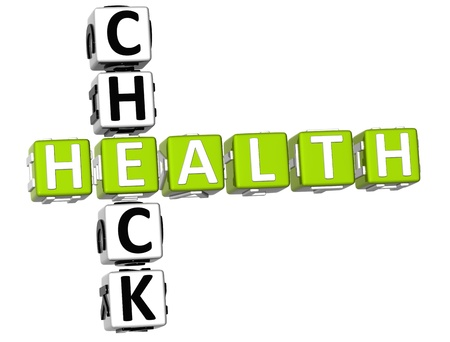 healt: 3D Check Health Crossword on white background Stock Photo
