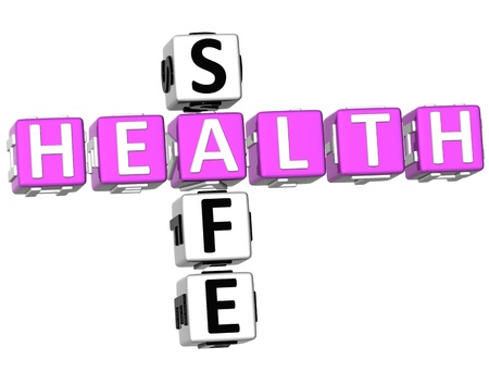 healt: 3D Health Safe Crossword on white background