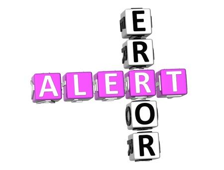 3D Error Alert Crossword on white background Stock Photo - 8973387