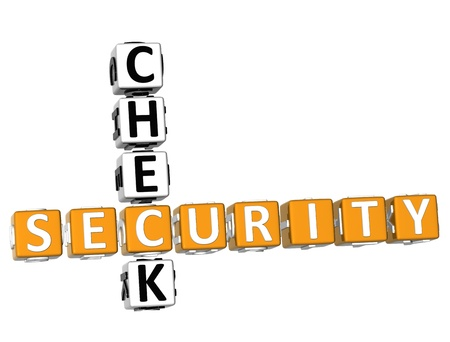 3D Security Check Crossword on white background Stock Photo - 8973391