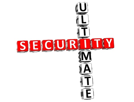 3D Ultimate Security Crossword on white background Stock Photo - 8973385