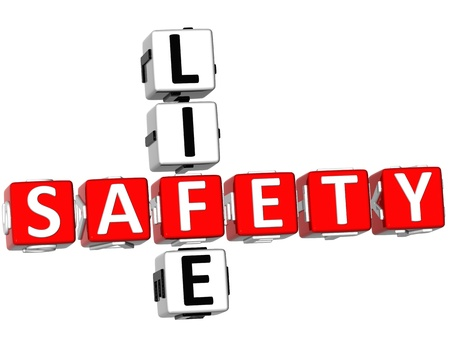 3D Safety Life Crossword on white background Stock Photo - 8973404