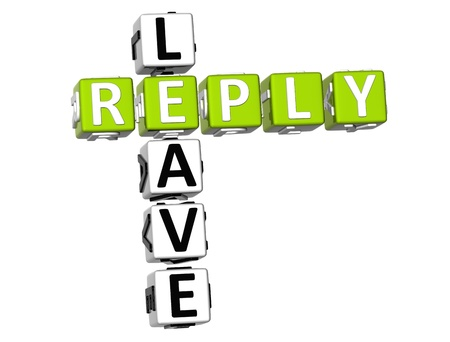 3D Leave Reply Crossword on white background photo