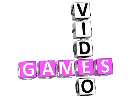 3D Video Games Crossword on white background photo