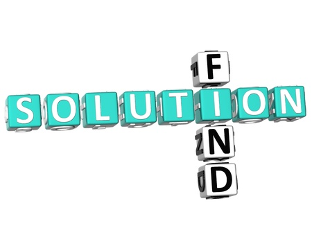 find solution: 3D Find Solution Crossword on white background Stock Photo