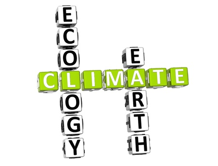 3D Ecology Climate Crossword on white background photo