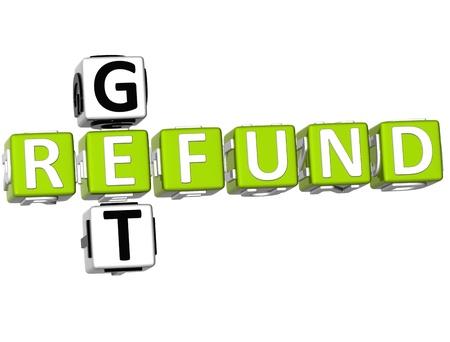 retour: 3D krijgen restitutie kruiswoordraadsel op witte achtergrond Stockfoto