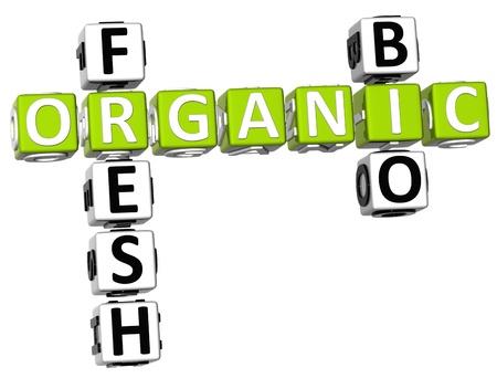 3D Fresh Bio Organic Crossword on white background photo