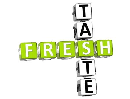3D Fresh Taste Crossword on white background photo