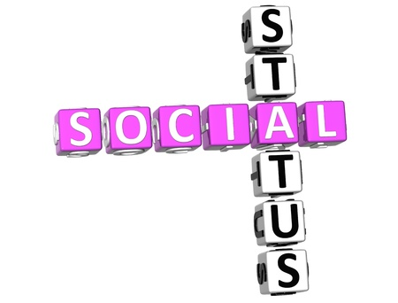 3D Social Status Crossword on white background photo