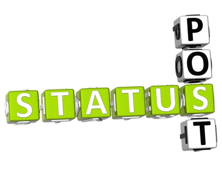 status: 3D Status Post Crossword on white background Stock Photo