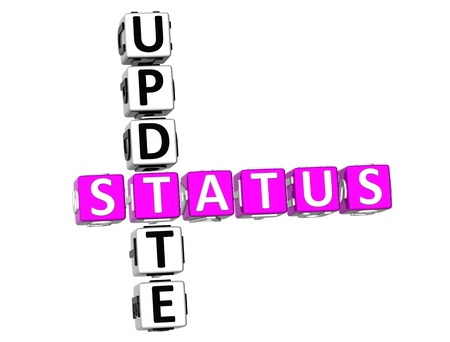 3D Update Status Crossword on white background