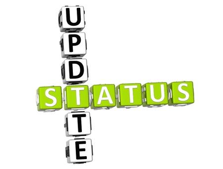 status: 3D Update Status Crossword on white background