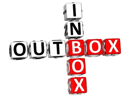 outbox: 3D Outbox Inbox Crossword on white background