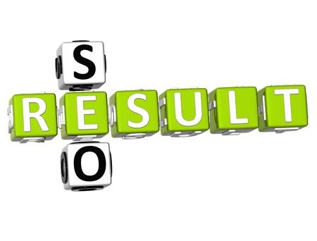 3D Seo Result Crossword on white background Stock Photo