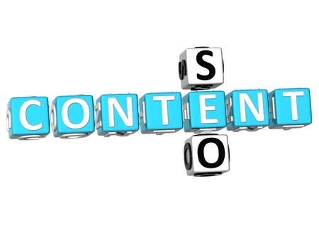 3D Seo Content Crossword on white background photo