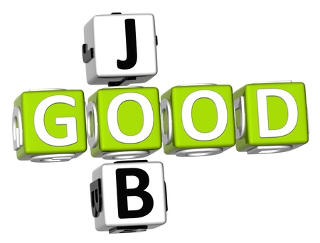 3D Good Job Crossword on white background Stock Photo - 9089039