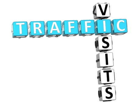3D Traffic Visits Crossword on white backgrounda Stock Photo - 9089019