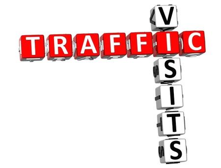 siti web: 3D Cruciverba di visite di traffico su bianco backgrounda Archivio Fotografico