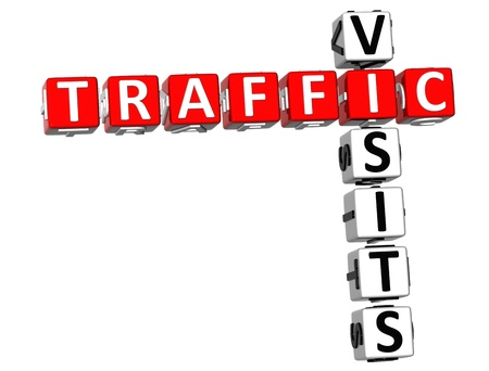 3D Traffic Visits Crossword on white backgrounda photo