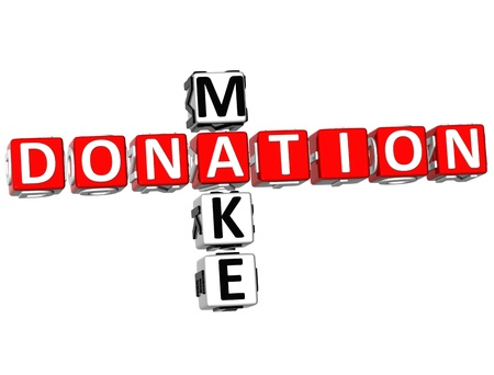 contribution: 3D Make Donation Crossword on white background